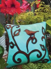 A Bird in the Hand Wool Applique Throw Pillow