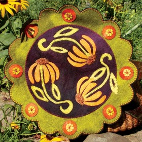 Brown Eyed Susans Wool Applique Penny Rug