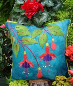 Fuchsia Fancy Wool Applique Throw Pillow
