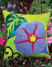 Glorious Morning Wool Applique Throw Pillow