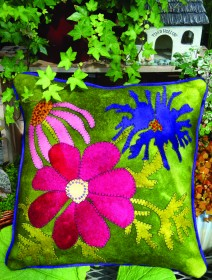 In Full Bloom Wool Applique Throw Pillow