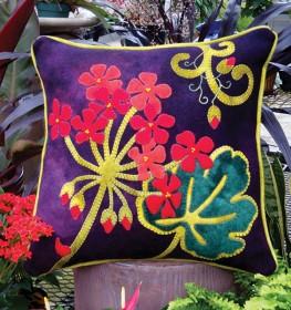 Jewel-Tone Geranium Wool Applique Throw Pillow