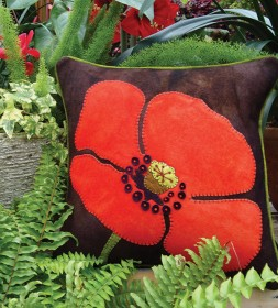 That's One Big Poppy Wool Applique Throw Pillow
