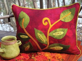 Vintage Vines Wool Applique Throw Pillow