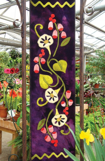 Fox Gloves and Morning Glories Wool Applique Runner