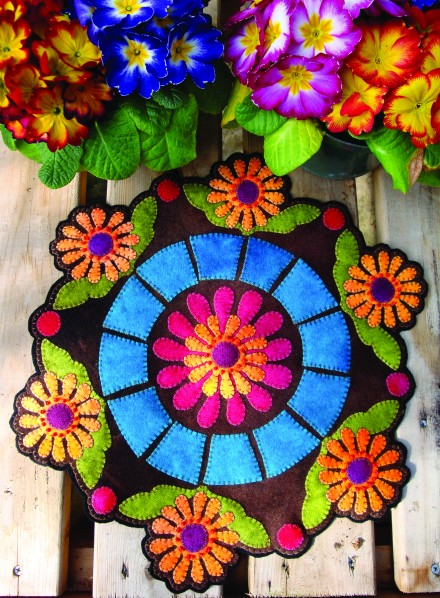 Fresh Flowers Wool Applique Candle Mat