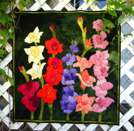 Glad Garden Wool Applique Wall Hanging
