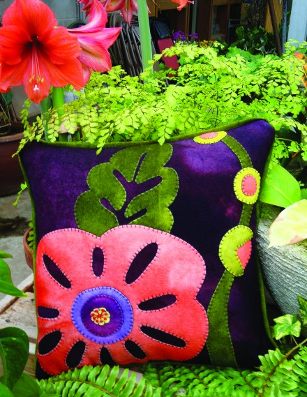 Hubba Hubba Hollyhock Wool Applique Throw Pillow