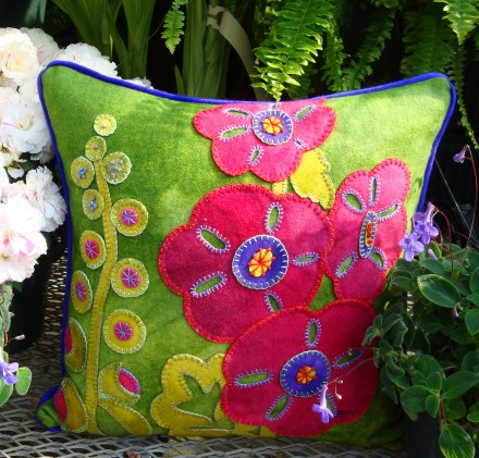 Hurray for Hollyhocks Wool Applique Throw Pillow