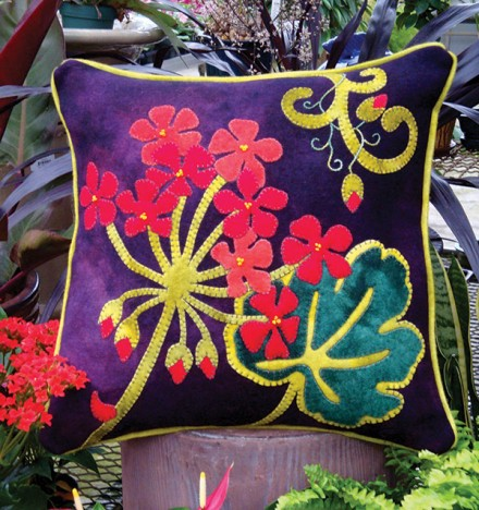 Jewel-Tone Geranium Wool Applique Throw Pillow