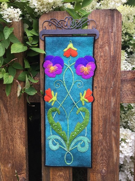 Nouveau Pansies Wall Hanging