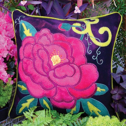 Passionate Peony Wool Applique Throw Pillow