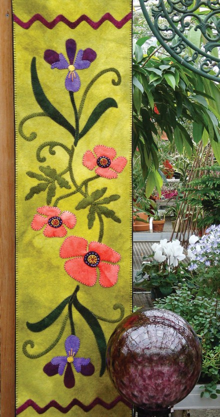 Poppies and Iris Wool Applique Runner
