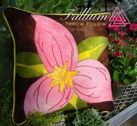 Trillium Wool Applique Throw Pillow