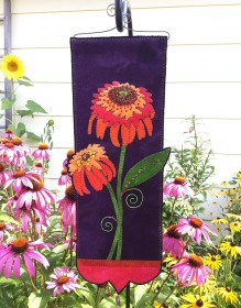 Hot Papaya Coneflower Wall Hanging