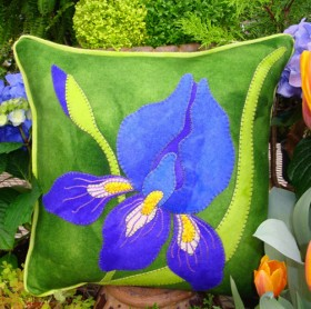 Inspired by Irises Wool Applique Throw Pillow