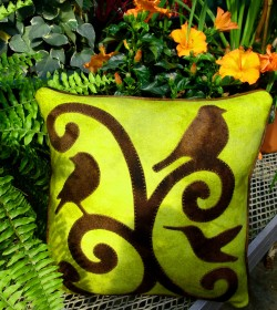 Pecking Order Wool Applique Throw Pillow