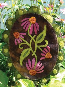 Purple Coneflower Wool Applique Penny Rug