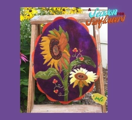A Season for Sunflowers Penny Rug Oval Mat