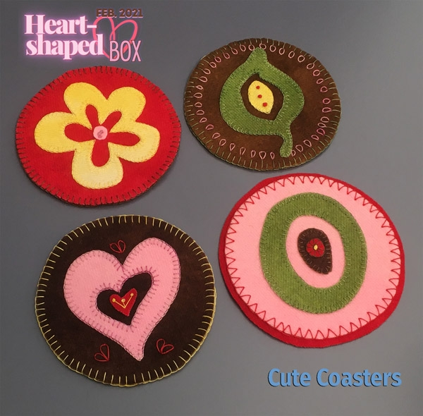 Cute Coasters with Heart-Shaped Box colors