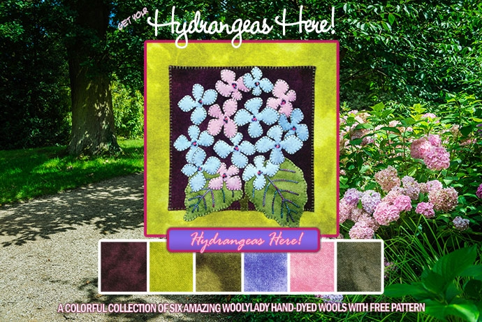A montage of hydrangeas on a garden path with our wool project.